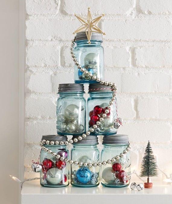 coole diy weihnachtsdeko und kreative alternative zu weihnachtsbaum mit christbaumkugeln und glaunen weckgläsern