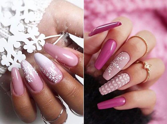 schöne winternägel designideen in zartem rosa mit weißen scheeflocken