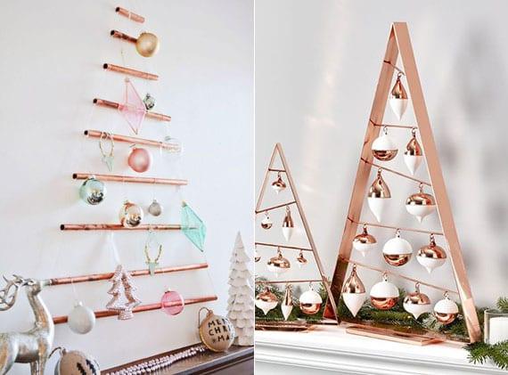 weihnachtsbaum alternativen in kupfer als wanddeko und kamindeko mit christbaumkugeln