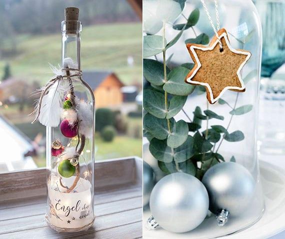 tolle weihnachtliche dekorationen mit christbaumkugeln in glasflasche oder unter glasglocke