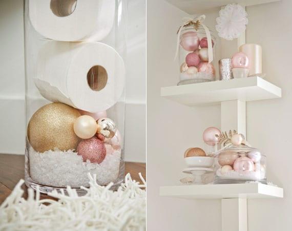 coole badezimmer deko idee zu weihnachten mit unterschiedlich großen christbaumkugeln in zartem rosa und creme