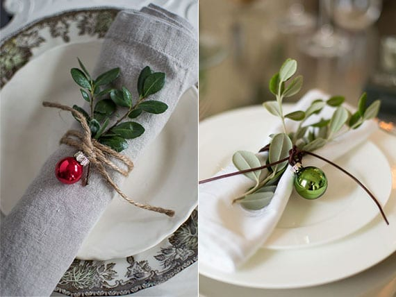 servietten kreativ und festlich falten mit buchsbaum und mini-weihnachtskugel