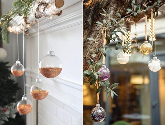stilvolle weihnachtsdeko für kamin mit birkenast und diy christbaumkugeln in Glitzergold_garten festlich dekorieren mit glaskugeln als baumschmuck