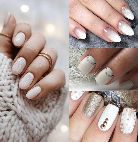 schöne nageldesign ideen in weiß für elegante wintermaniküre