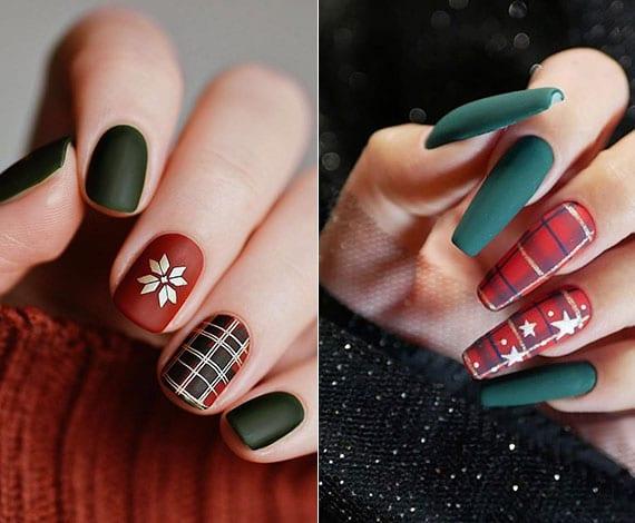 coole nageldesign ideen zu weihnachten mit karomuster