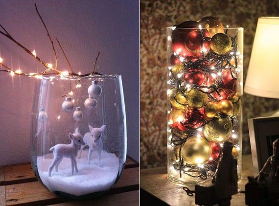 glasvasen mit christbaumkugeln befüllen und in attraktive diy weihnachtsdeko umwandeln