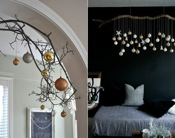 interessante ideen für weihnachtliche zimmerdeko mit hängenden christbaumkugeln vom zweig