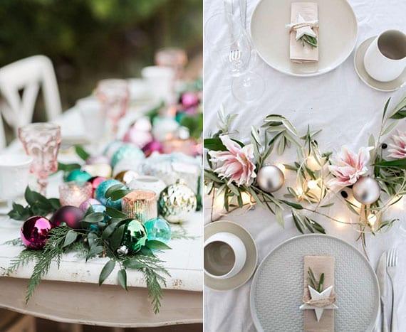 weihnachts-Tischdeko ideen im lichterglanz mit christbaumkugeln in zarten farben und frischen grünzweigen oder blumen