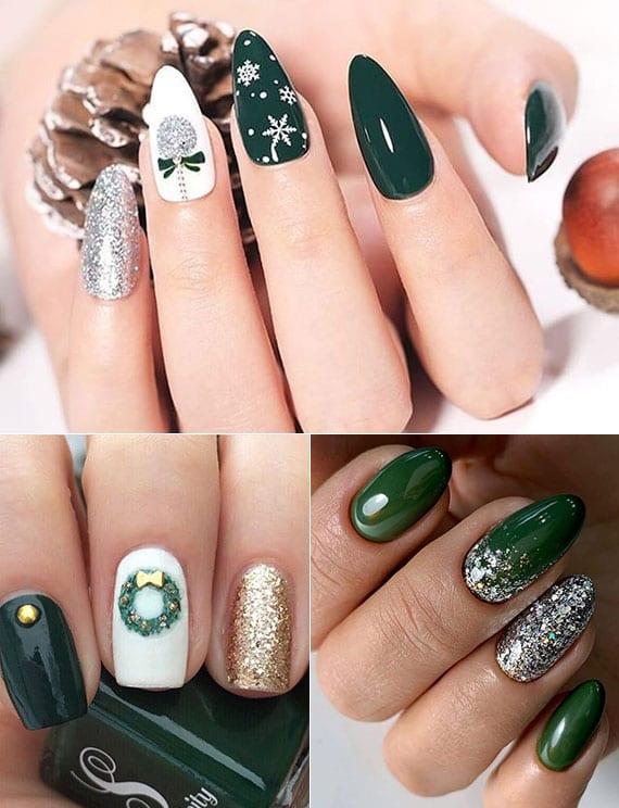 festliche nageldesign ideen für weihnachten und silvester in dunkelgrün, weiß und glitzer