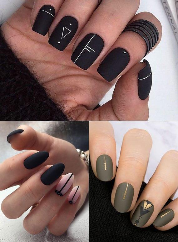 fingernägel originell und modern gestalten in matt-optik und mit punkten oder strichen