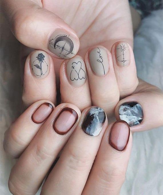 coole maniküre kurze nägel durch die kombination verschiedener nageldesigns wie Tortoiseshell-Nails