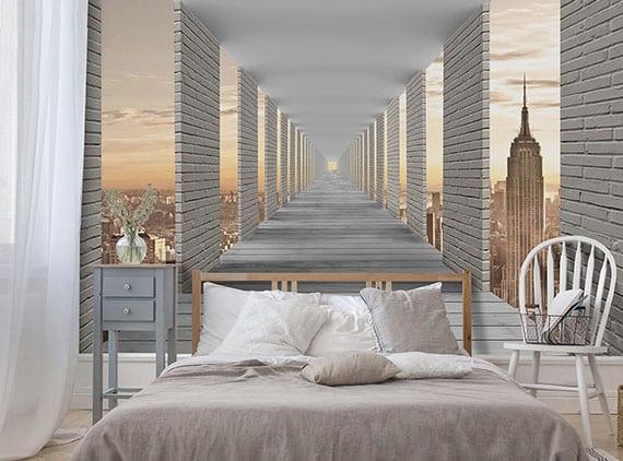 coole gestaltungsidee für optische vergrößerung kleiner schlafzimmer mit einer stadt-tapete in 3D optik