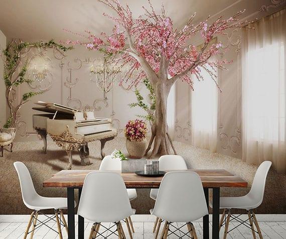 Räumen mehr Tiefe und Elleganz verleihen durch die Verkleidung einer Wand mit dreidimensionaler Wandtapete in Barock Stil