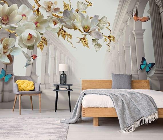 modernes schlafzimmer in hellgrau mit holzbett und schwarzem beistelltisch als nachttisch gemütlich gestalten mit effektvoller tapete mit 3D effekt