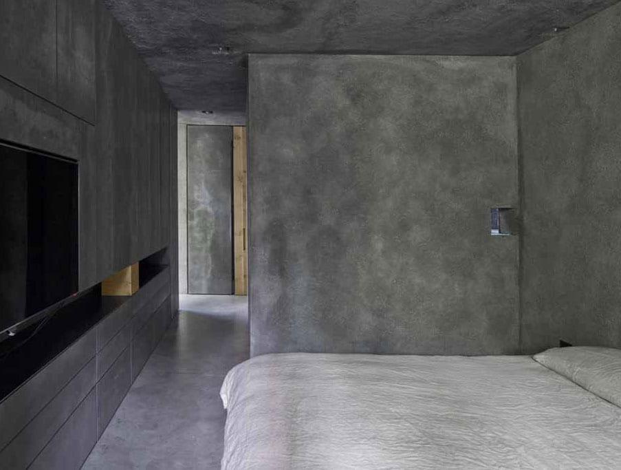 moderne idee für minimalistische schlafzimmer gestaltung in betonoptik