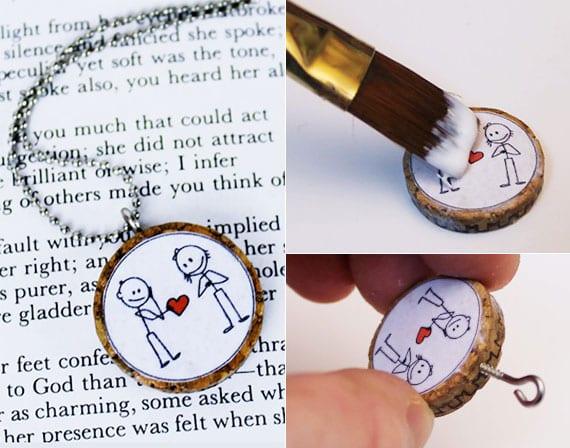 kreative bastelidee für selbstgemachte halskette aus korken als kleines DIY Liebesgeschenk zum valentinstag