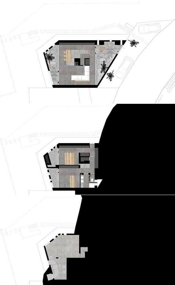 dreigeschossiges wohnhaus in Caviano_grundrisse