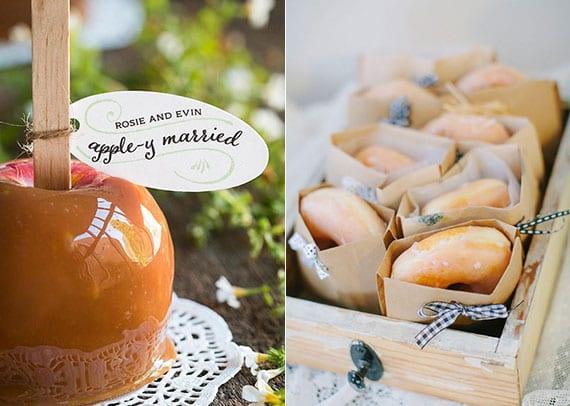karamellisierte äpfel oder donuts als passende gastgeschenke zur hochzeit