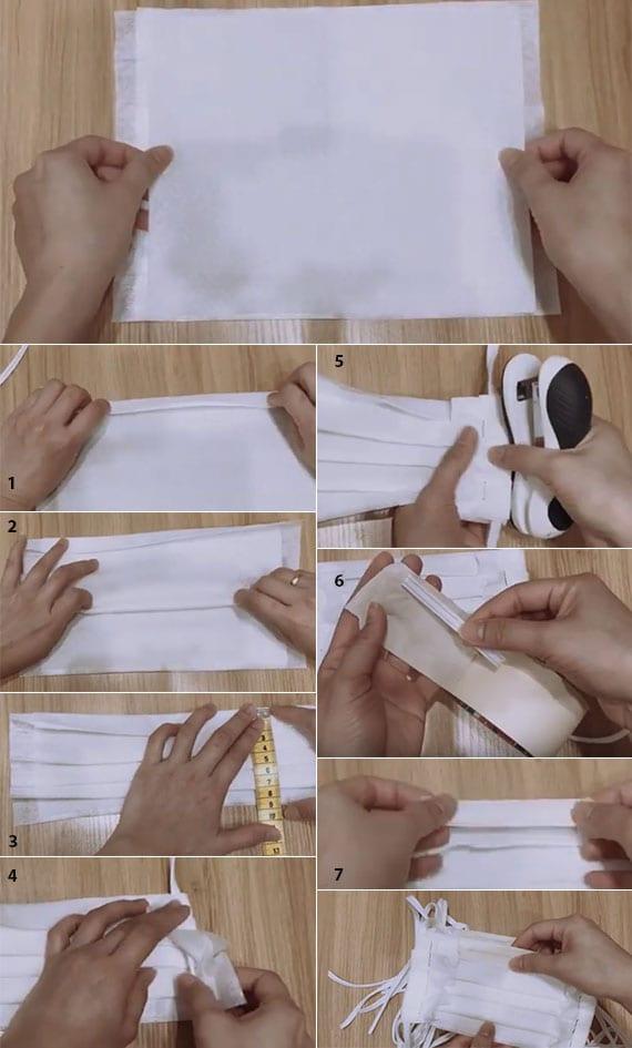 anleitung für DIY Mundschutz aus Einmal-Waschlappen und Staubwischtüchern