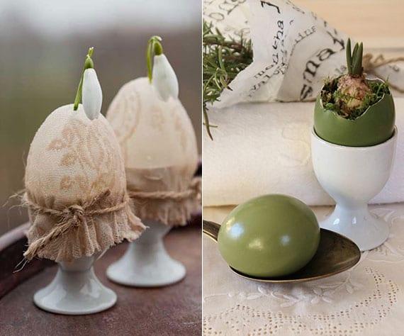 rustikale osterdeko basteln mit zwiebelblumen in eierschalen und eibecher