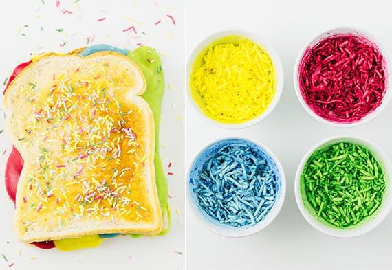 kreative party essen ideen mit DIY farbigem käse