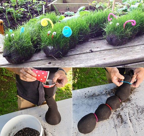 DIY Grasraupe aus Kniestrumpf als coole gartendeko idee zum selber machen und kreative bastelidee für den kindergarten