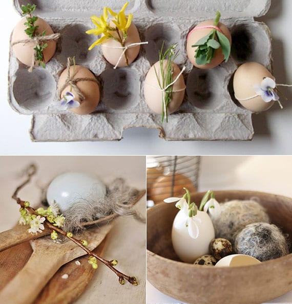 originelle rustikale osterdeko ideen mit ostereiern und frühlingsblumen
