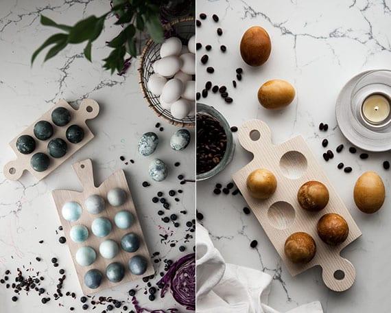 schöne ostereier in blau, schawrz und goldbraun färben mit naturmaterialien