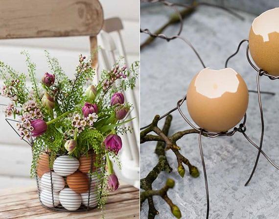 rustikale osterdeko inspirationen mit eierschalen und hart gekochten eiern