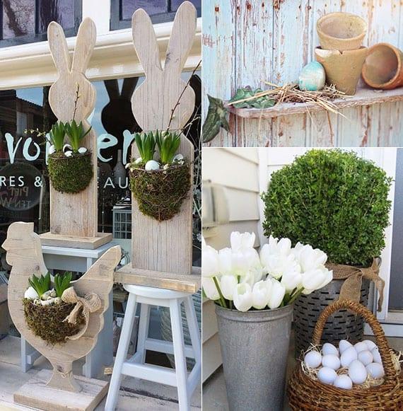 kreative ideen für eine fröhliche gartendeko mit ostereiern und zwiebelblümen