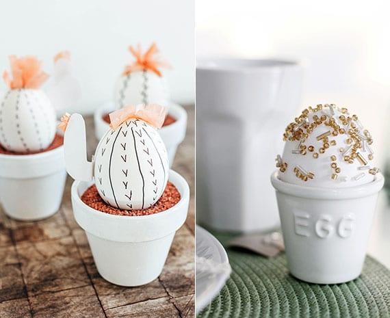 coole DIY Ideen für attraktive osterdeko mit weißen eiern_bastelidee für kaktus-ostereier und ostereier mit glasperlen