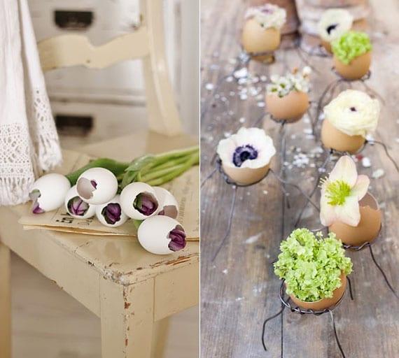 rustikale frühlingsdeko basteln mit frischen frühlingsblumen in weißen und braunen eierschalen