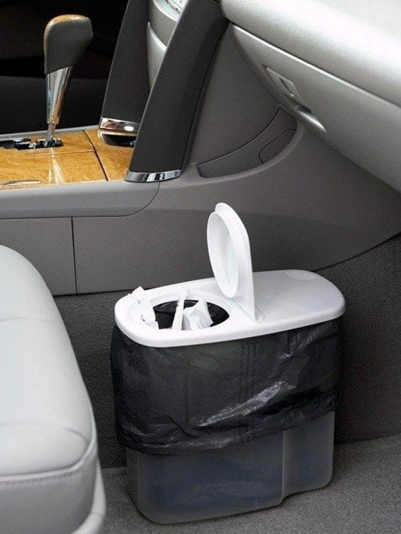 coole idee für DIY Auto-Mülleimer aus Müslibehälter_tipps für sauberes auto