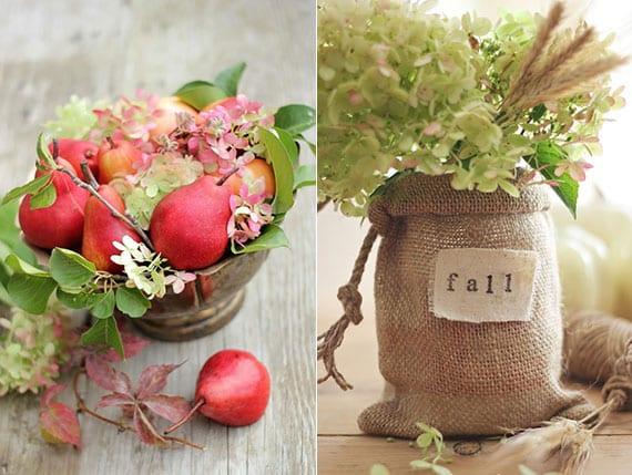 coole Erntedank-Dekorationen mit hortensienblüten basteln