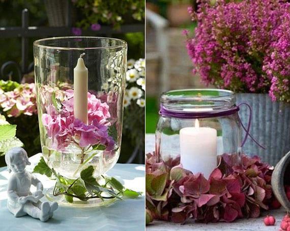 coole kerzendeko ideen mit hortensienblüten_effektvolle tischdeko im sommer mit wintlichter