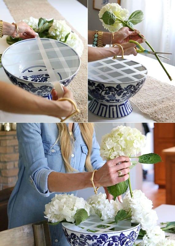 weißen hortensien in porzellanschale kreativ arrangieren mittels klebeband