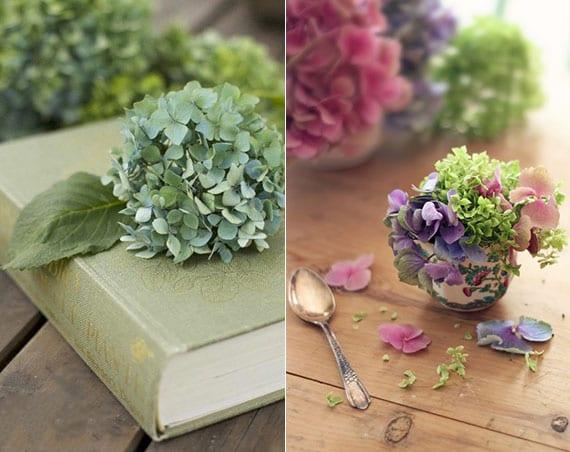 hortensienblüten als originelle tischdekoration im Vintage Stil