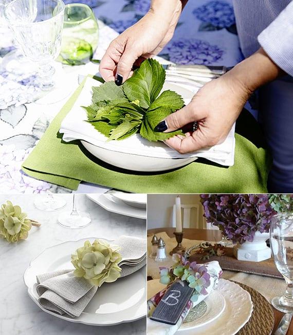 kreative serviette faltideen mit hortensie als coole platzteller deko