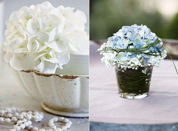 den tisch mit kleinen Hortensien-Dekorationen veredeln