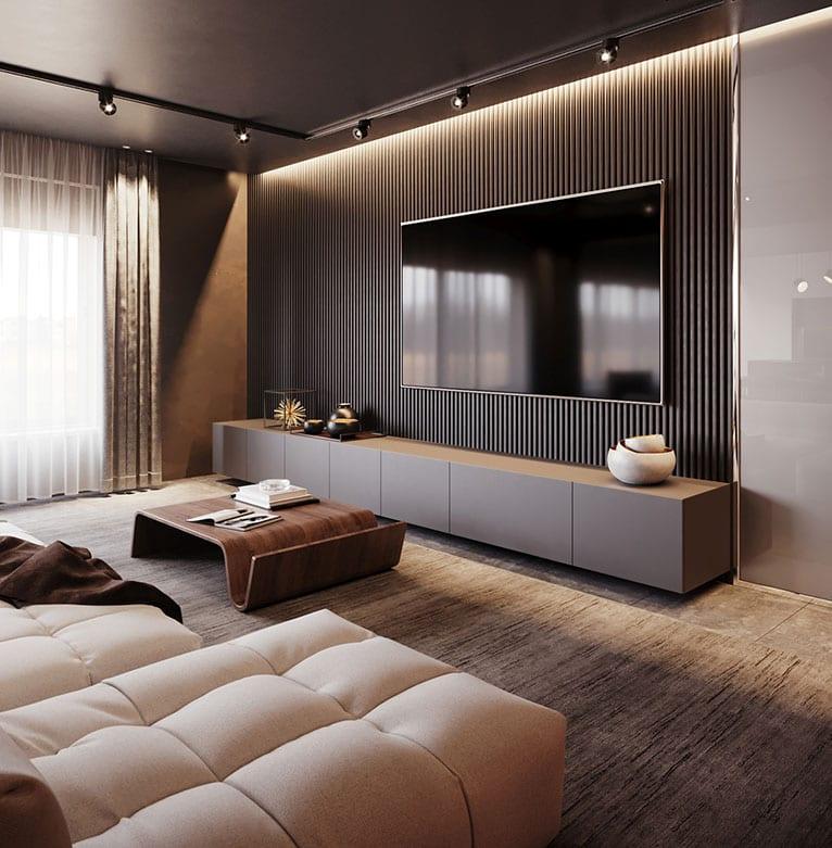 attraktive wohnzimmer ideen für moderne und gemütliche einrichtung nach den neusten wohntrends_luxux interieur design in beige und braun mit moderner wohnwandverkleidung, indirekter beleuchtung und designer ecksofa mit holzcouchtisch