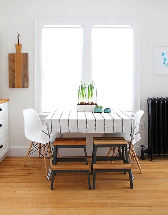 platzsparende ideen für kleine küchen_ikea tritthocker als sitzhocker verwenden