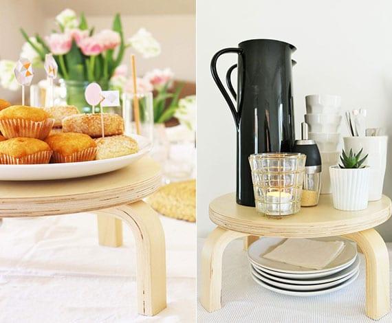 coole tischdeko ideen mit einer DIY Kuchenplatte oder einem DIY Gestell für Getränkespender aus ikea holzhocker