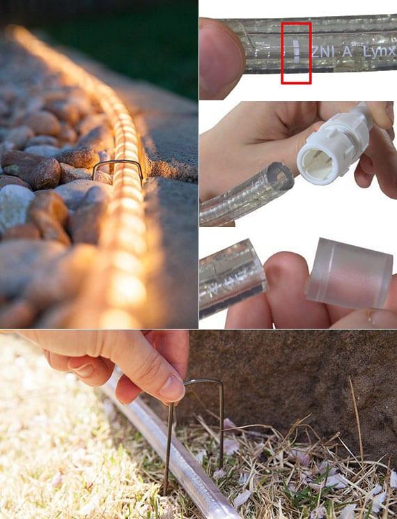 coole idee für einfache und attraktive gartenbeleuchtung mit einem LED-lichtschlauch
