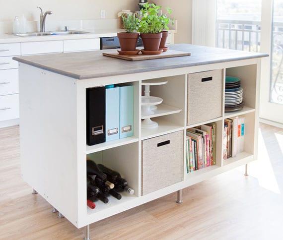 coole bastelproejkte mit ikea regalen für praktische und platzsparende diy küchenmöbel
