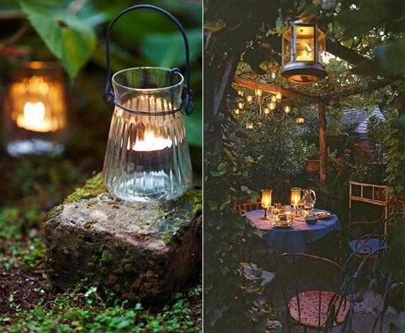 garten abends romantischer machen durch indirekter gartenbeleuchtung mit kerzen, laternen, oder lichterketten