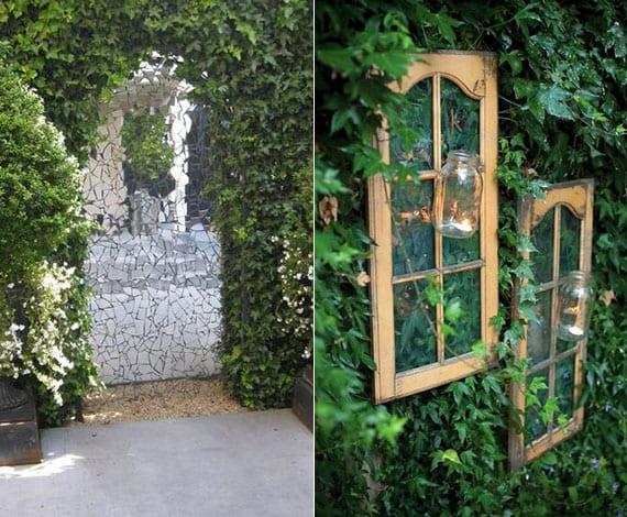 coole gartendeko ideen mit alten sprossenfenstern und spiegelglas