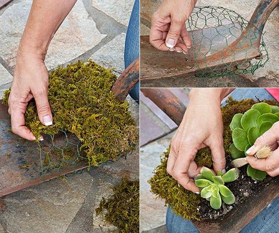 DIY gartendekoration mit Schaufel als Pflanzenbehälter für Sukkulenten
