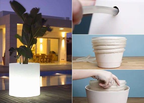 anleutung für selbstgemachte LED-Blumentöpfe als coole gartendeko in der nacht