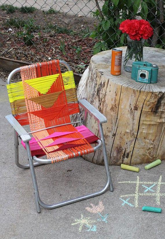 klappgartenstühle neu und bunt bespannen mit paracord