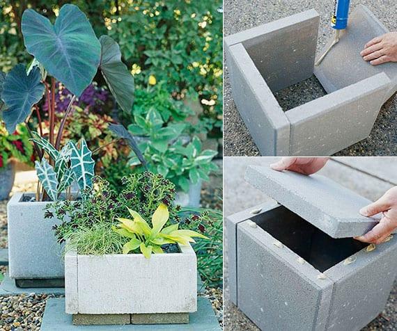 einfache bastelidee für selbstgemachte pflanzenkübel aus betontrittsteinen